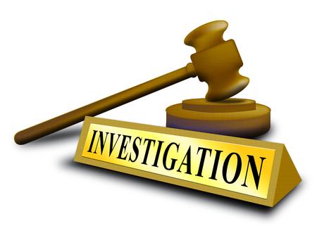 Investigation Gavel Depicting Federal Bureau Scrutiny And Analyzing Suspicious Suspect 3d Illustration. Investigator Of Murder Or Crime