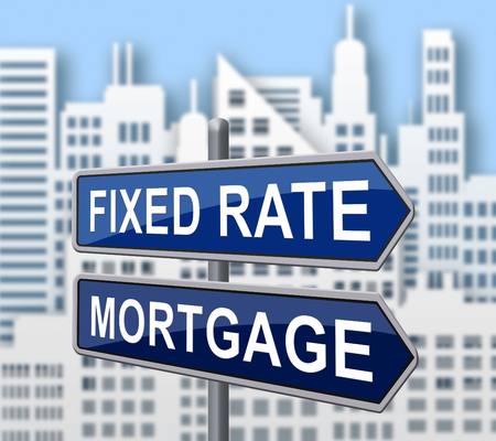 Fixed Rate Mortgage City Depicts Home Or Property Loan With Payment Fix. Percentage Interest On Apartment Or House - 3d Illustration Archivio Fotografico - 120355288