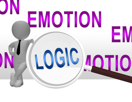 Emotion Vs Logic Magnifier Depicts The Logical Compared With Emotional Mind. These Opposite Views Include Analytics Pragmatism And Intuition - 3d Illustration Banco de Imagens