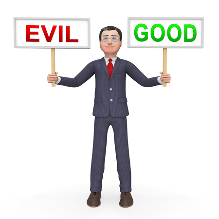 Good Vs Evil Sign Shows Difference Between Moral Honesty And Hate. Crossroads Of Hope Belief Or Hell - 3d Illustration