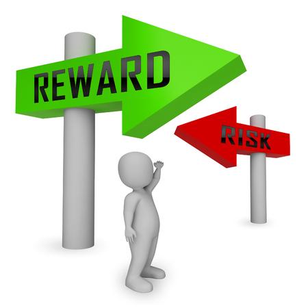 Risiko- und Belohnungsstrategie-Zeichen zeigen die Gefahren beim Erzielen von Erfolgen. Eine Chance ergreifen, um einen Return on Investment zu erzielen - 3D-Illustration Standard-Bild