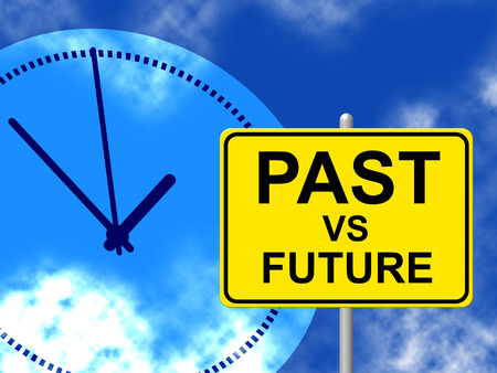 Future Versus Past Sign Comparing History With Upcoming Events. The Chance Of Improvement, Progress And Evolution - 3d Illustration Фото со стока
