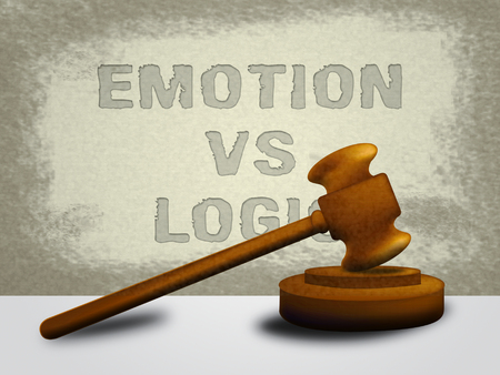 Emotion Vs Logic Words Depicts The Logical Compared With Emotional Mind. These Opposite Views Include Analytics Pragmatism And Intuition - 3d Illustration