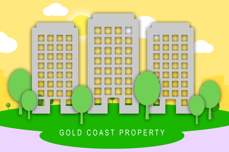 Gold Coast Property City View Depicts Surfers Paradise Real Estate. Australian Houses And Apartments In Queensland - 3d Illustration