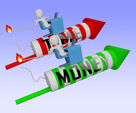 Time Vs Money Rockets Contrasting Earning Money With Leisure Or Retirement. Quit And Live A Relaxing Life Or Work Harder - 3d Illustration Stock Photo