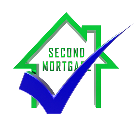 Second Mortgage Finance Icon Showing Line Of Credit On Property. Real Estate Refinance Using Equity - 3d Illustration Standard-Bild