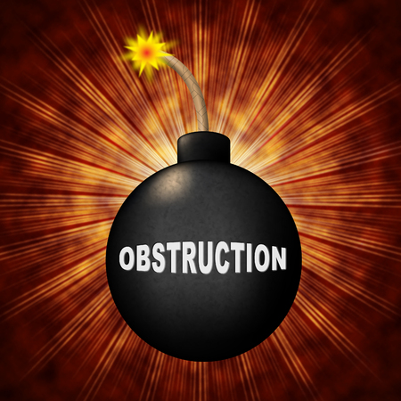 Obstruction Of Justice And Corruption Bomb Meaning Impeding A Legal Case 3d Illustration. Hindering The Process Of Law Stock Photo