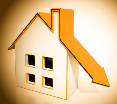 Downsize Home House Symbol Means Downsizing Property Due To Retirement Or Budget. Find A Tiny House Or Apartment - 3d Illustration Stock Photo