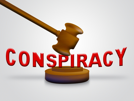 Government Conspiracy Gavel Meaning Usa Leadership Conspiring With Foreign Leaders 3d Illustration. Dishonest Politicians Scheming And Misleading