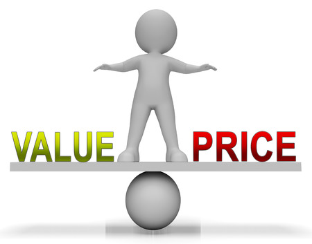 Price Vs Value Balance Comparing Cost Outlay Against Financial Worth. Product Pricing Strategy Or Investment Valuation - 3d Illustration Banco de Imagens