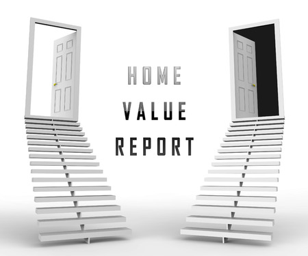 Home Value Report Doorway Demonstrates Pricing Property For Mortgages Or Purchase. House Valuation Survey And Guide - 3d Illustration
