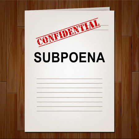 Court Subpoena Report Represents Legal Duces Tecum Writ Of Summons 3d Illustration. Judicial Document To Summon A Witness Stock Photo