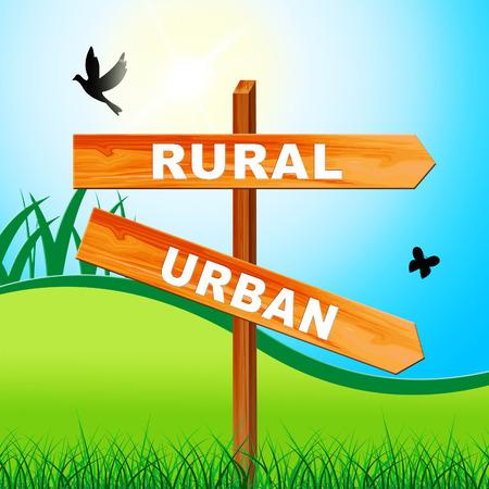 Rural vs Urban Lifestyle Sign vergleicht Vorstadt- und Landhäuser. Geschäftiges Stadtleben oder Felder und Ackerland - 3D-Illustration