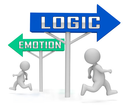 Emotion Vs Logic Sign Depicts The Logical Compared With Emotional Mind. These Opposite Views Include Analytics Pragmatism And Intuition - 3d Illustration