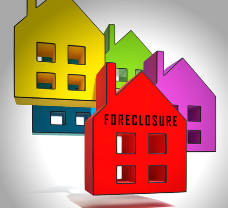 Foreclosure Notice Icon Means Warning That Property Will Be Repossessed. Mortgage Failure Prompts Eviction And Sale - 3d Illustration