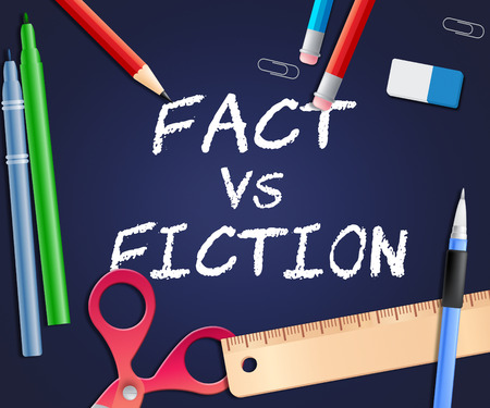 Fact Vs Fiction Words Represents Authenticity Versus Rumor And Deception. Truthful Credibility Against False Lies - 3d Illustration