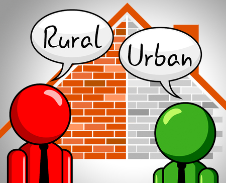 Rural Vs Urban Lifestyle Discussion Compares Suburban And Rural Homes. Busy City Living Or Fields And Farmland - 3d Illustration Stock Photo