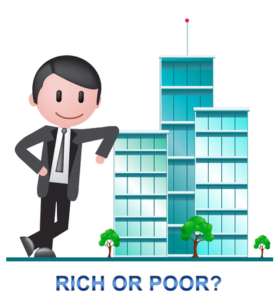Rich Vs Poor Wealth Buildings Meaning Well Off Against Being Broke. Inequality And Injustice Of Life And Money - 3d Illustration