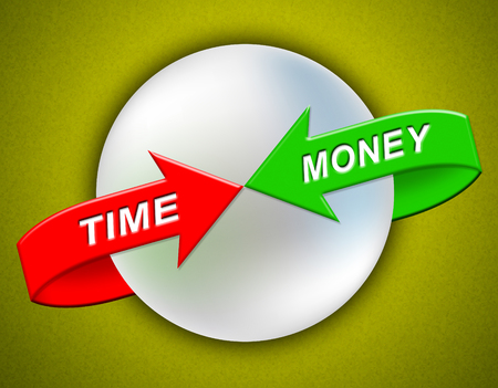 Time Versus Money Arrows Contrasting Earnings With Expenses. Your Financial Future And Making Enough Cash To Retire - 3d Illustration