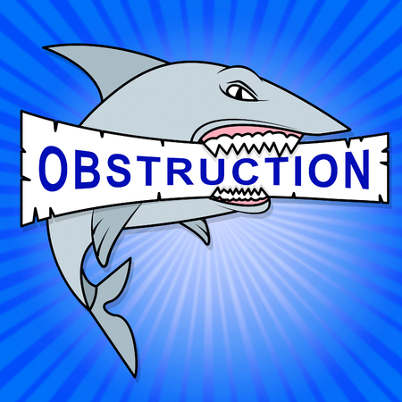 Obstruction Of Justice And Corruption Shark Meaning Impeding A Legal Case 3d Illustration. Hindering The Process Of Law Stock Photo