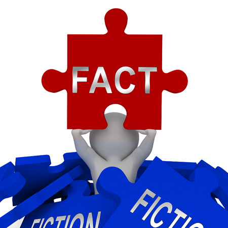 Fact Vs Fiction Jigsaw Represents Authenticity Versus Rumor And Deception. Truthful Credibility Against False Lies - 3d Illustration