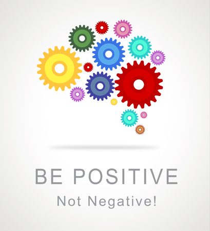 Positive Vs Negative Icon Depicting Reflective State Of Mind. Motivation And Optimism Versus Pessimism - 3d Illustration Stock Photo