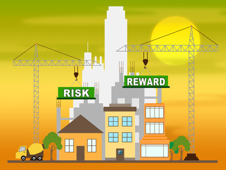 Risk Vs Reward Strategy Building Depicts The Hazards In Obtaining Success. Taking A Chance To Get A Return On Investment - 3d Illustration Stockfoto