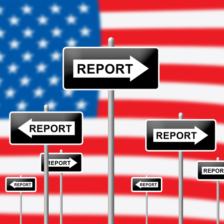 Impact Report Flag Shows A Summary Or Writing Of Evidence And Results 3d Illustration. Business Data Or Political Information