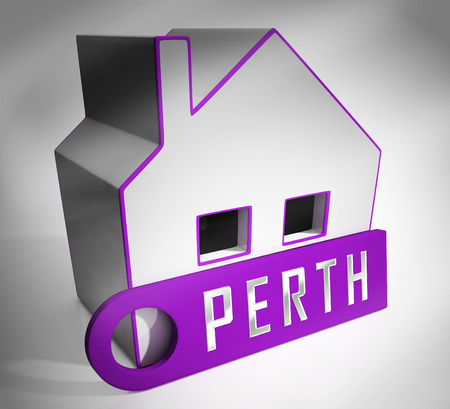 Perth Suburbs Key Showing Property Buying In An Australian City. Residential Homes And Apartments In Western Australia - 3d Illustration