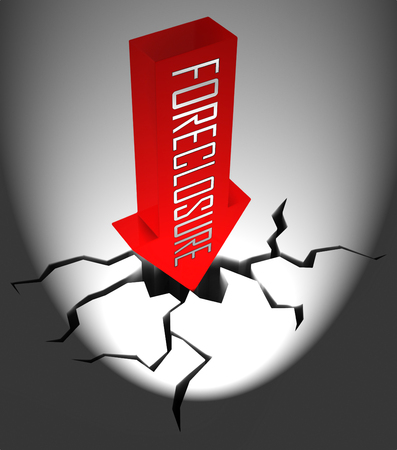 Foreclosure Notice Arrow Means Warning That Property Will Be Repossessed. Mortgage Failure Prompts Eviction And Sale - 3d Illustration