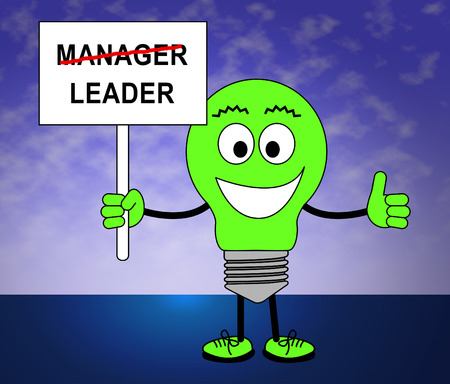 Leader Versus Manager Sign Depicts Supervising Vs Leading. Entrepreneur Vision Compared With Following Rules And Systems - 3d Illustration Stock Photo