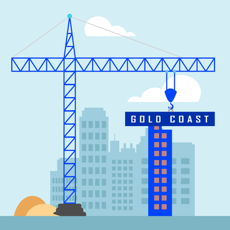 Gold Coast Property Construction Depicts Surfers Paradise Real Estate. Australian Houses And Apartments In Queensland - 3d Illustration