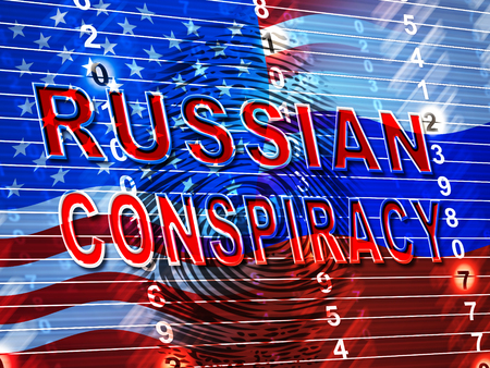 Russian Conspiracy Scheme Fingerprint. Politicians Conspiring With Foreign Governments 3d Illustration. Complicity In Crime Against The Usa