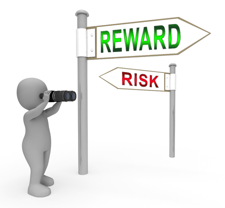 Risk Vs Reward Strategy Signs Depicts The Hazards In Obtaining Success. Taking A Chance To Get A Return On Investment - 3d Illustration