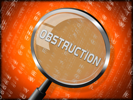 Obstruction Of Justice And Corruption Magnifier Meaning Impeding A Legal Case 3d Illustration. Hindering The Process Of Law