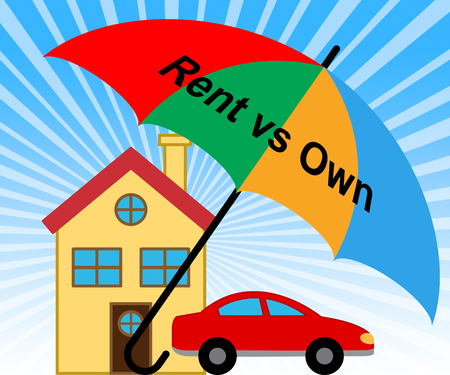 Own Versus Rent Property Icon Contrasts Owning Or Renting A Home. Real Estate Payment Options - 3d Illustration