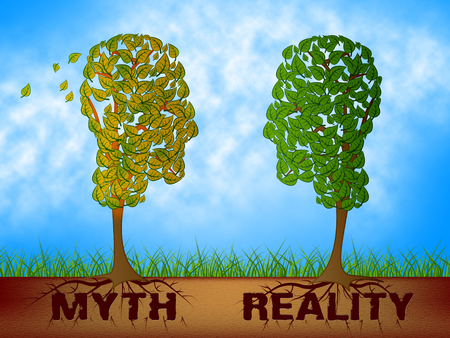 Myth Versus Reality Words Showing False Mythology Vs Real Life. Truth And Sincerity Against Fantasy - 3d Illustration