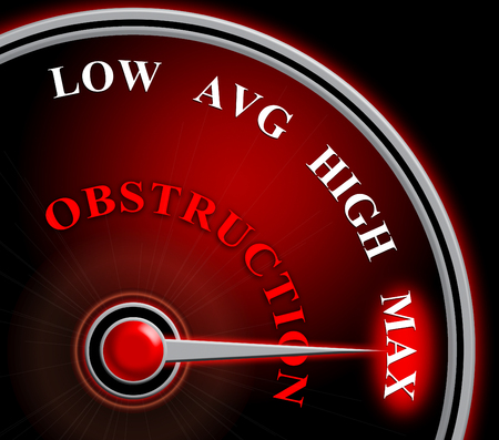 Obstruction Of Justice And Corruption Gauge Meaning Impeding A Legal Case 3d Illustration. Hindering The Process Of Law