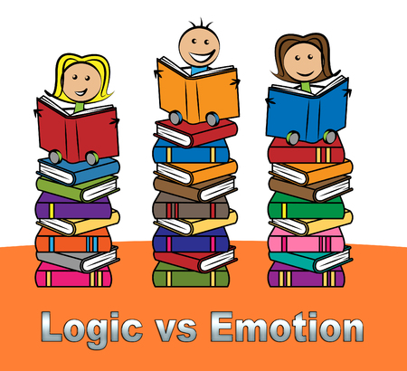 Emotion Versus Logic Books Illustrates The Difference Between Head And Heart. The Mind Deals With Rational Thinking, Imagination And Feelings - 3d Illustration