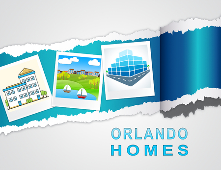 Orlando Home Real Estate Photos Depicts Florida Realty And Rentals. Apartment Or House Buying Broker Downtown - 3d Illustration