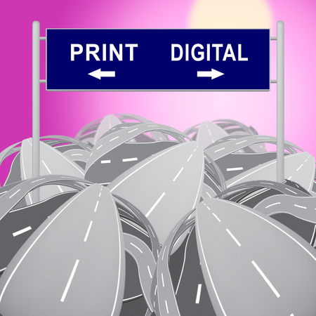 Print Vs Digital Sign Showing Published Brochure Versus Digital Version. Media Publication Against Online Advertisement - 3d Illustration