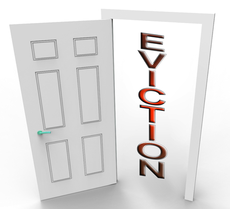 Eviction Notice Doorway Illustrates Losing House Due To Bankruptcy, Debt, Nonpayment Or Landlord Enforcement - 3d Illustration
