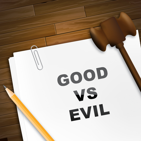 Evil Versus Good Report Means Faith In God Or The Devil. Choice Of Honest And Decent Or Hate - 3d Illustration Imagens