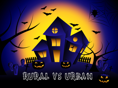 Rural Vs Urban Lifestyle House Compares Suburban And Rural Homes. Busy City Living Or Fields And Farmland - 3d Illustration Stock Photo