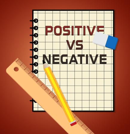 Positive Versus Negative Report Depicting Reflective State Of Mind. Motivation And Optimism Vs Pessimism - 3d Illustration