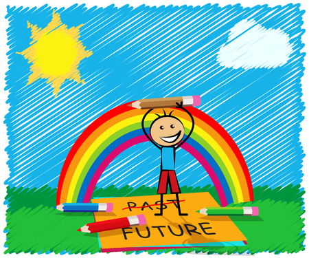 Past Vs Future Note Compares Life Gone With Upcoming Prospects. Looking At Destiny, Fate And Opportunity - 3d Illustration Фото со стока