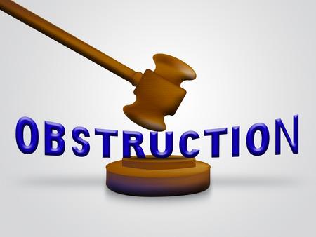 Obstruction Of Justice And Corruption Gavel Meaning Impeding A Legal Case 3d Illustration. Hindering The Process Of Law Stock Photo