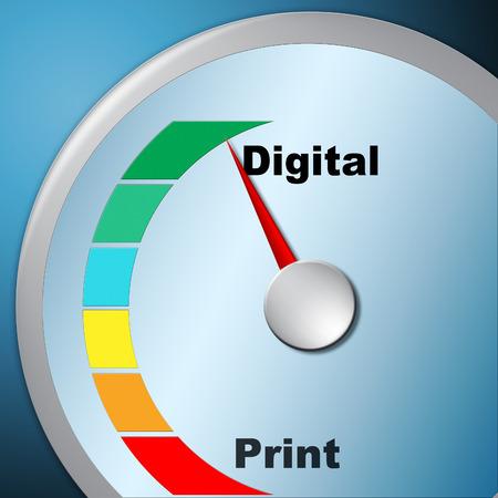 Print versus digitale meter met gepubliceerde brochure versus digitale versie. Mediapublicatie tegen online advertentie - 3d illustratie