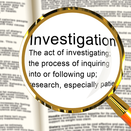 Criminal Investigation Definition Showing Crime Detection Of Legal Offense 3d Illustration. Analyzing Evidence Of Fraud Or Murder Imagens