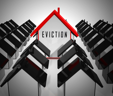 Eviction Notice Icon Illustrates Losing House Due To Bankruptcy, Debt, Nonpayment Or Landlord Enforcement - 3d Illustration Stock Photo